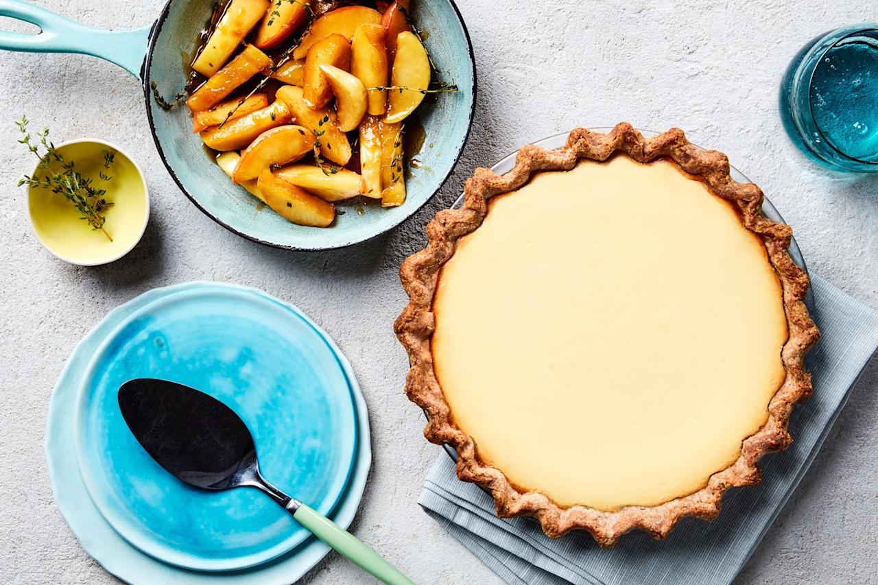 """This pie, modeled after recipes made by the ancient Romans, is cheesecake-like in texture and gets its gentle sweetness from a good bit of honey. <a href=""""https://www.epicurious.com/recipes/food/views/goat-cheese-honey-and-rye-crust-pie?mbid=synd_yahoo_rss"""">See recipe.</a>"""