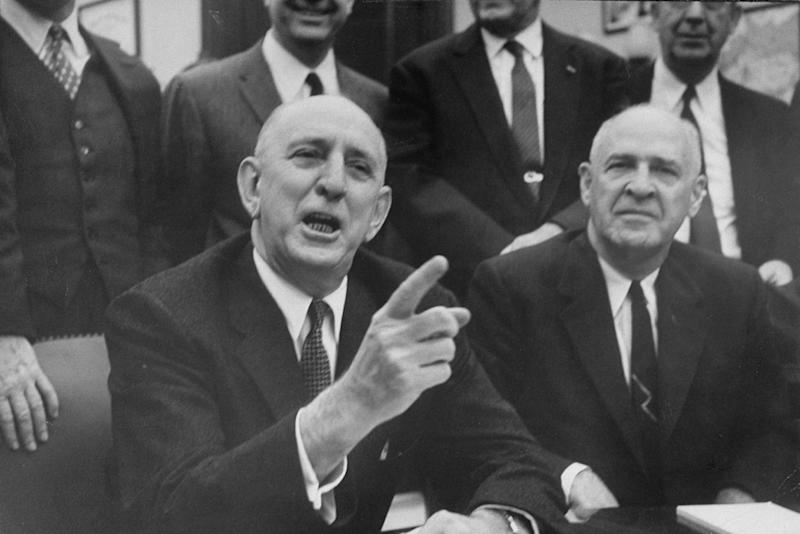 Sen. Richard Russell Jr. (front left) meeting with other Southern senators in 1959. (Paul Schutzer / Getty Images)