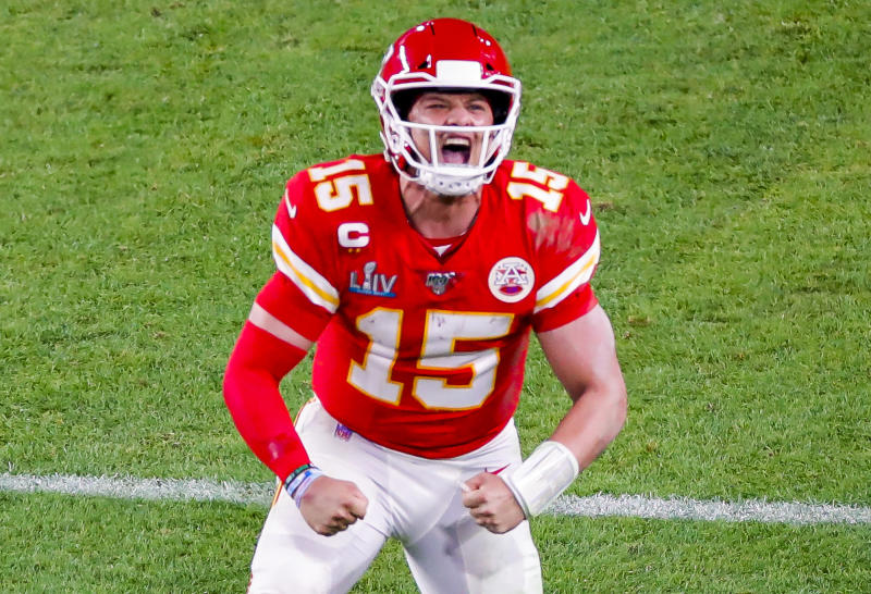 Kansas City Chiefs quarterback Patrick Mahomes reacts during the second half of Super Bowl LIV. (David Santiago/Miami Herald/Tribune News Service via Getty Images)