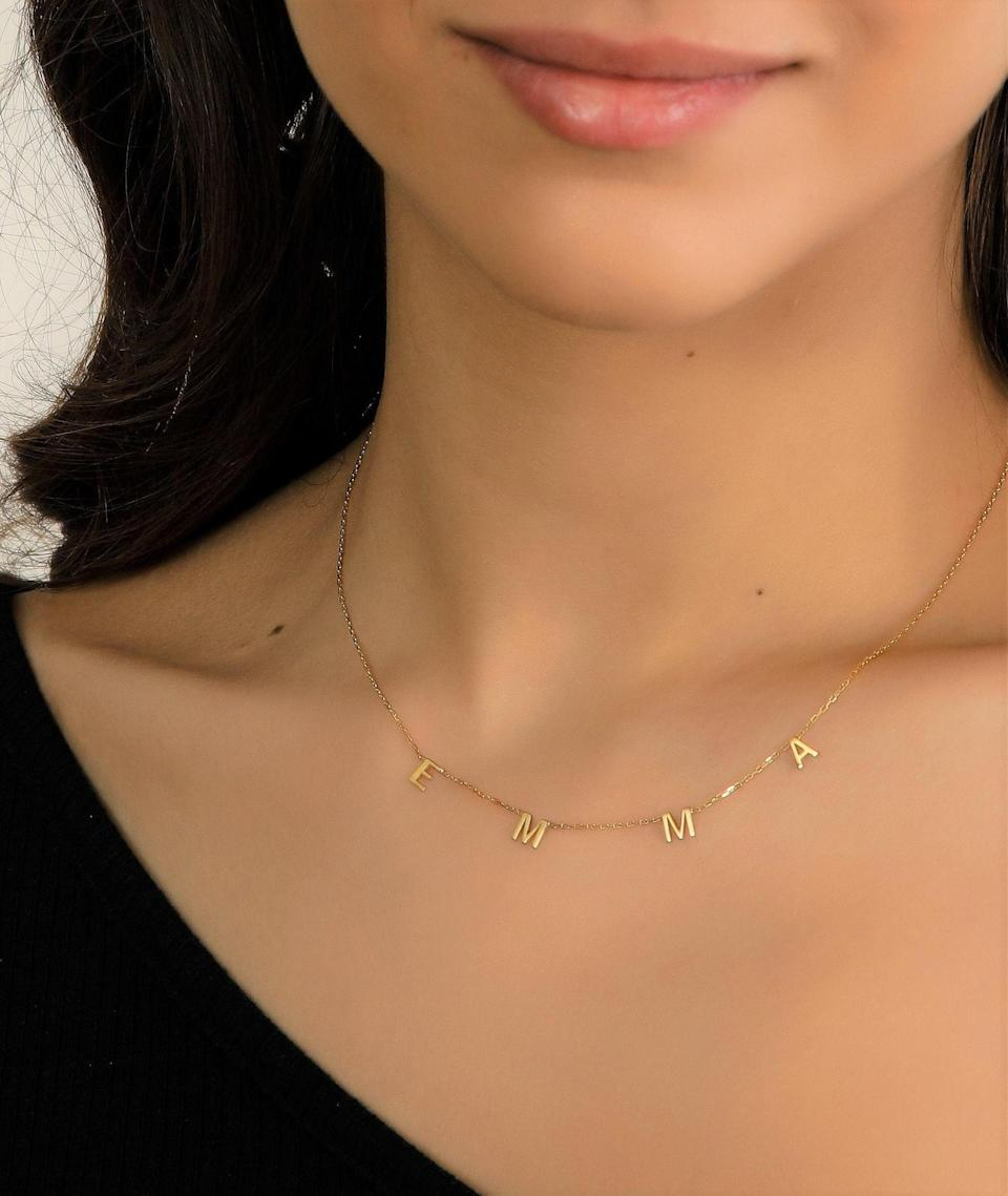 GoldandGold Custom VOTE 2020 Letter Necklace in Gold, Silver, and Rose Gold (Photo: Etsy)