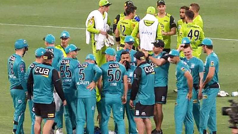 Heat and Thunder players, pictured here during a timeout in the BBL opener.