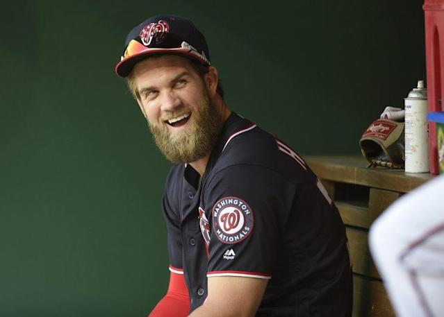 Bryce Harper has plenty of reasons to smile right now. (AP Photo)