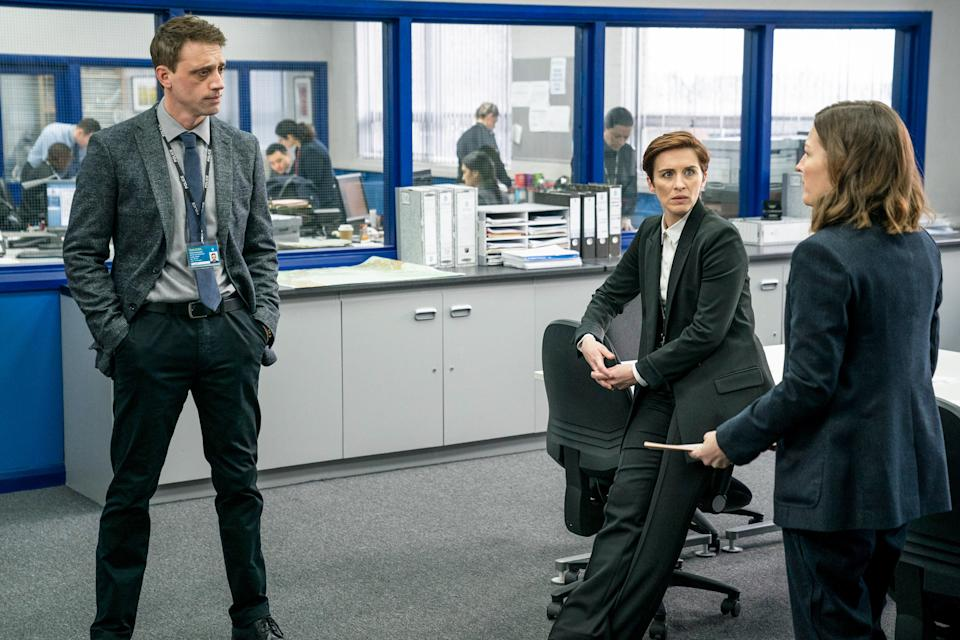 WARNING: Embargoed for publication until 00:00:01 on 23/03/2021 - Programme Name: Line of Duty S6 - TX: n/a - Episode: Line Of Duty - Ep 2 (No. n/a) - Picture Shows: *NOT FOR PUBLICATION UNTIL TUESDAY 23RD MARCH, 2021* DS Chris Lomax (PERRY FITZPATRICK), DI Kate Fleming (VICKY MCCLURE), DCI Joanne Davidson (KELLY MACDONALD) - (C) World Productions - Photographer: Steffan Hill