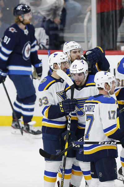 St. Louis Blues' David Perron (57) celebrates the winning goal in overtime against the Winnipeg Jets in NHL hockey game action in Winnipeg, Manitoba, Friday, Dec. 27, 2019. (John Woods/The Canadian Press via AP)