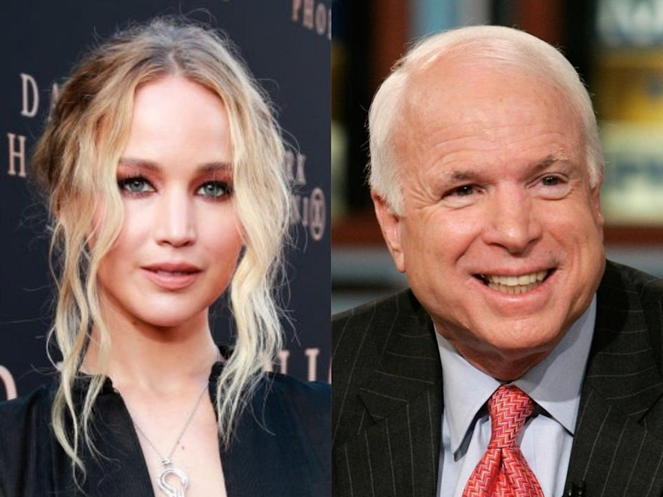 Jennifer Lawrence in 2019, and the late John McCain on the election trail in 2008 (Rich Fury/Alex Wong/Getty Images)