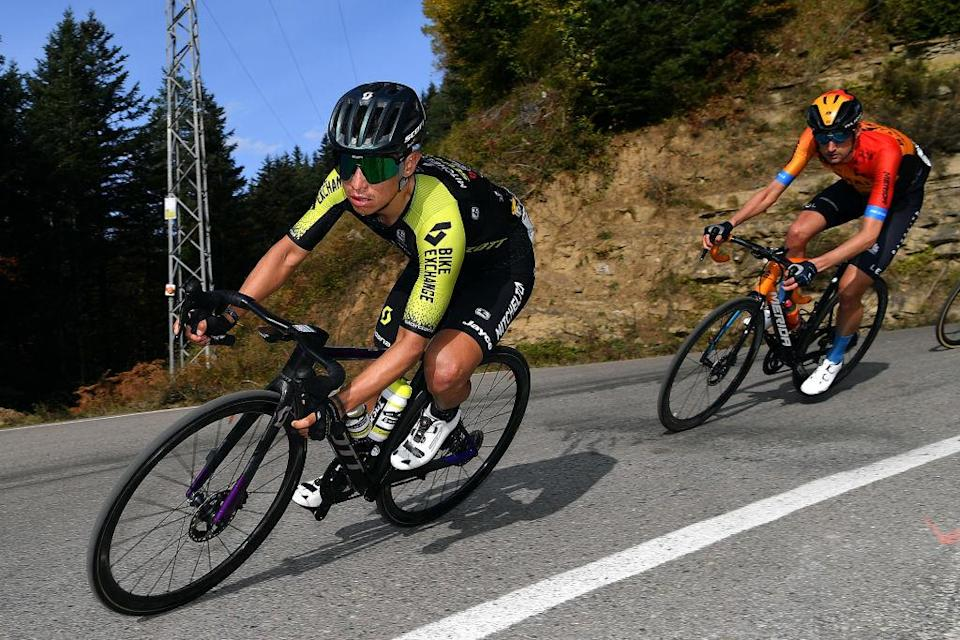 SABIANIGO SPAIN  OCTOBER 24 Johan Esteban Chaves Rubio of Colombia and Team Mitchelton  Scott  Wouter Poels of The Netherlands and Team Bahrain  Mclaren  during the 75th Tour of Spain 2020 Stage 5 a 1844km Huesca to Sabinigo 835m  lavuelta  LaVuelta20  La Vuelta  on October 24 2020 in Sabinigo Spain Photo by Justin SetterfieldGetty Images