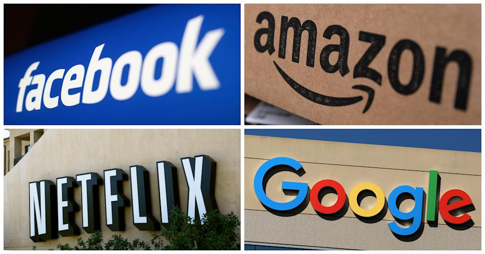 Facebook, Amazon, Netflix and Google logos are seen in this combination photo from Reuters files.   REUTERS/File Photos