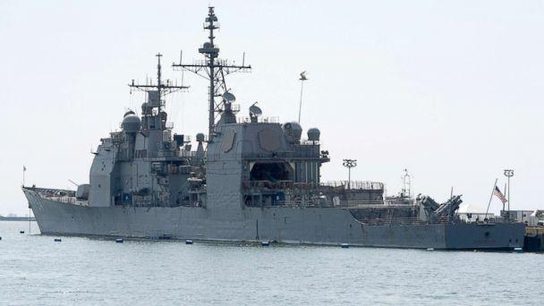 PHOTO: The U.S. Navy's guided missile cruiser USS Antietam (CG-54) is seen docked at a port in Manila, March 14, 2016. (Noel Celis/AFP/Getty Images)