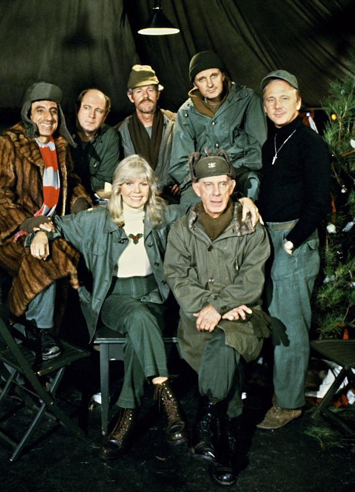 M*A*S*H, background from left: Jamie Farr, David Ogden Stiers, Mike Farrell, Alan Alda, William Christopher, front from left: Loretta Swit, Harry Morgan in ''Goodbye, Farewell, and Amen'' (Season 11, Episode 16, aired February 28, 1983).