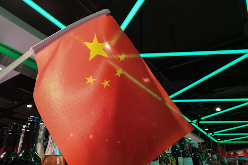 Beijing, China - September 28, 2019: A Chinese flag is hung in a supermarket to celebrate National Day in Beijing.