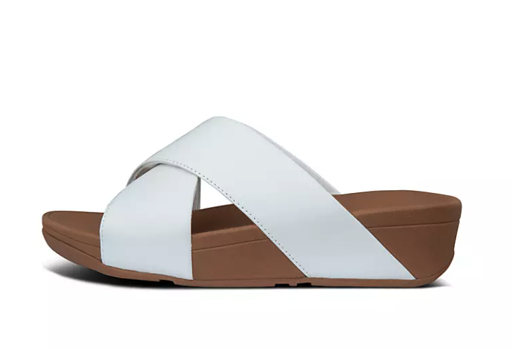 Lulu Leather Cross Slides. Image via Fitflop.