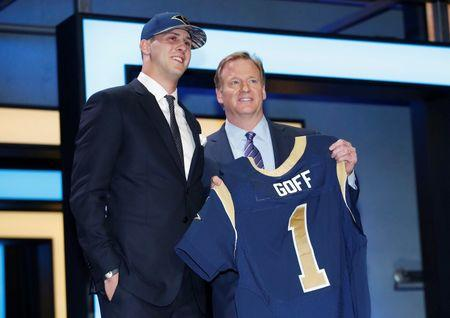Apr 28, 2016; Chicago, IL, USA; Jared Goff (California) greets NFL commissioner Roger Goodell after being selected by the Los Angeles Rams as the number one overall pick in the first round of the 2016 NFL Draft at Auditorium Theatre. Kamil Krzaczynski-USA TODAY Sports