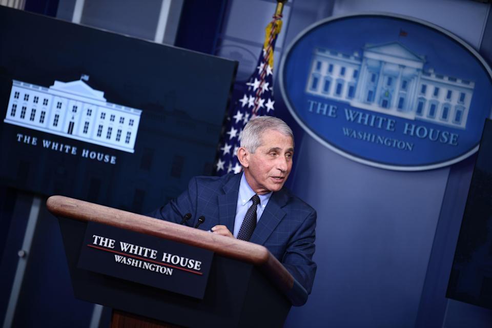 Director of the National Institute of Allergy and Infectious Diseases Anthony Fauci speaks during a White House Coronavirus Task Force press briefing in the James S. Brady Briefing Room of the White House on November 19, 2020. (Photo by Brendan Smialowski / AFP) (Photo by BRENDAN SMIALOWSKI/AFP via Getty Images) (AFP via Getty Images)