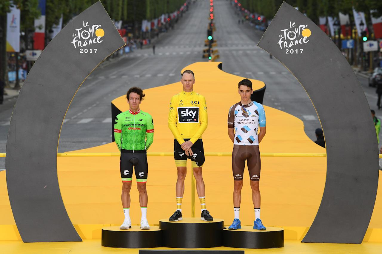 Cycling - The 104th Tour de France cycling race - The 103-km Stage 21 from Montgeron to Paris Champs-Elysees, France - July 23, 2017 - Cannondale-Drapac rider Rigoberto Uran of Columbia, Team Sky rider and yellow jersey Chris Froome of Britain and AG2R-La Mondiale rider Romain Bardet of France on the podium.  REUTERS/Franck Faugere/Pool