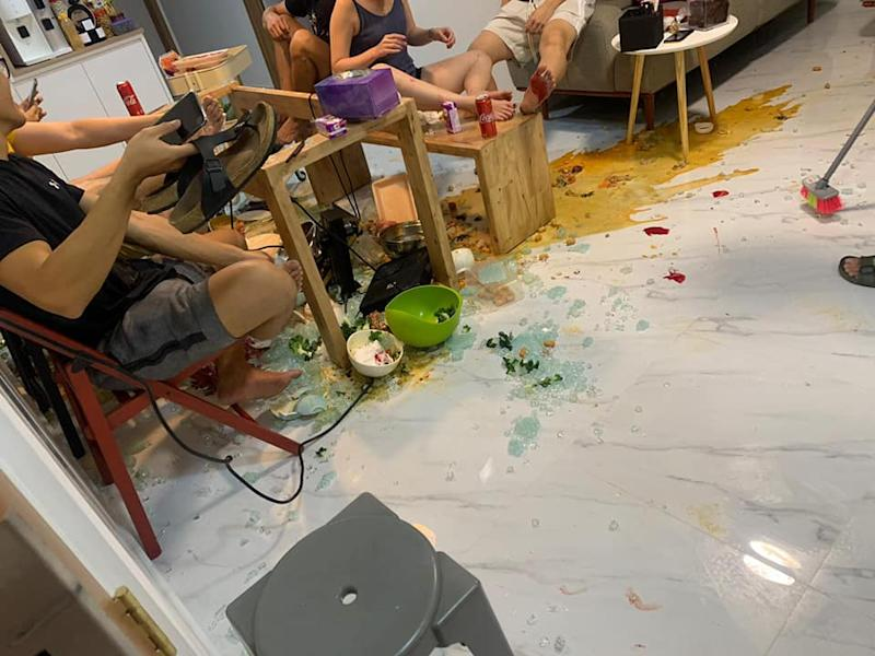 Aftermath of glass breakage. Photo: Stephanie Chu/Facebook