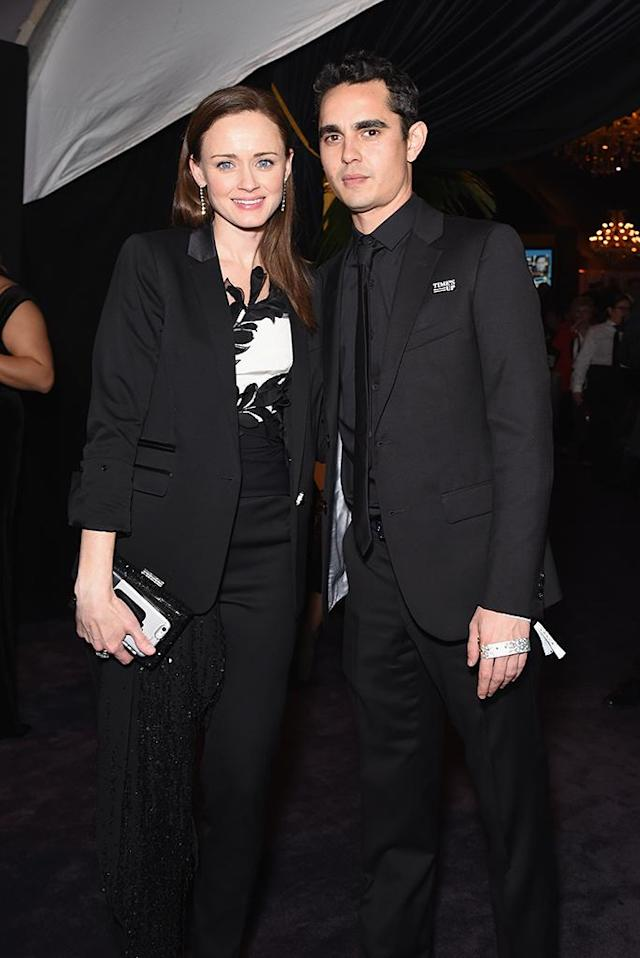 <p>Alexis Bledel and Max Minghella at the Fox, FX, and Hulu awards soiree. (Photo: Presley Ann/Getty Images) </p>