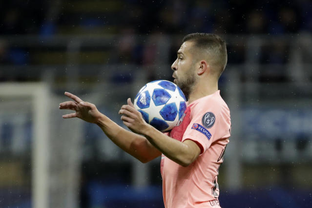 Barcelona defender Jordi Alba controls the ball during the Champions League group B soccer match between Inter Milan and Barcelona at the San Siro stadium in Milan, Italy, Tuesday, Nov. 6, 2018. (AP Photo/Luca Bruno)