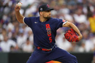 American League's Nathan Eovaldi, of the Boston Red Sox, throws during the fourth inning of the MLB All-Star baseball game, Tuesday, July 13, 2021, in Denver. (AP Photo/Jack Dempsey)