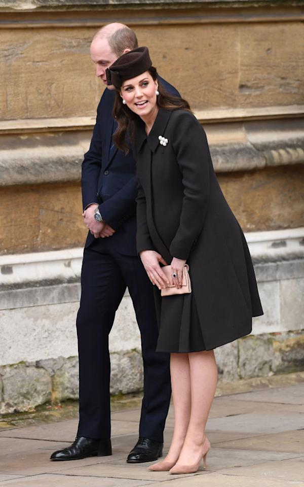 <p>The Duchess of Cambridge made a surprise appearance at the Easter Sunday service at St George's Chapel alongside senior members of the royal family. For the ceremony, the 36-year-old wore one of her go-to maternity looks. She donned a Catherine Walker coat dress she debuted back in 2012 on St Patrick's Day. She accessorised the look with a co-ordinating Lock & Co hat. <em>[Photo: Getty]</em> </p>
