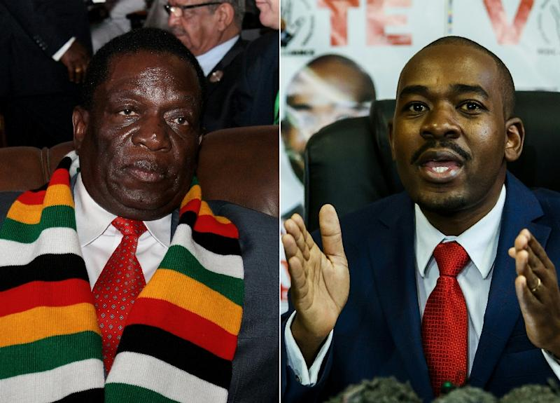 President Emmerson Mnangagwa (L) called the talks but was snubbed by  opposition heavyweight Nelson Chamisa