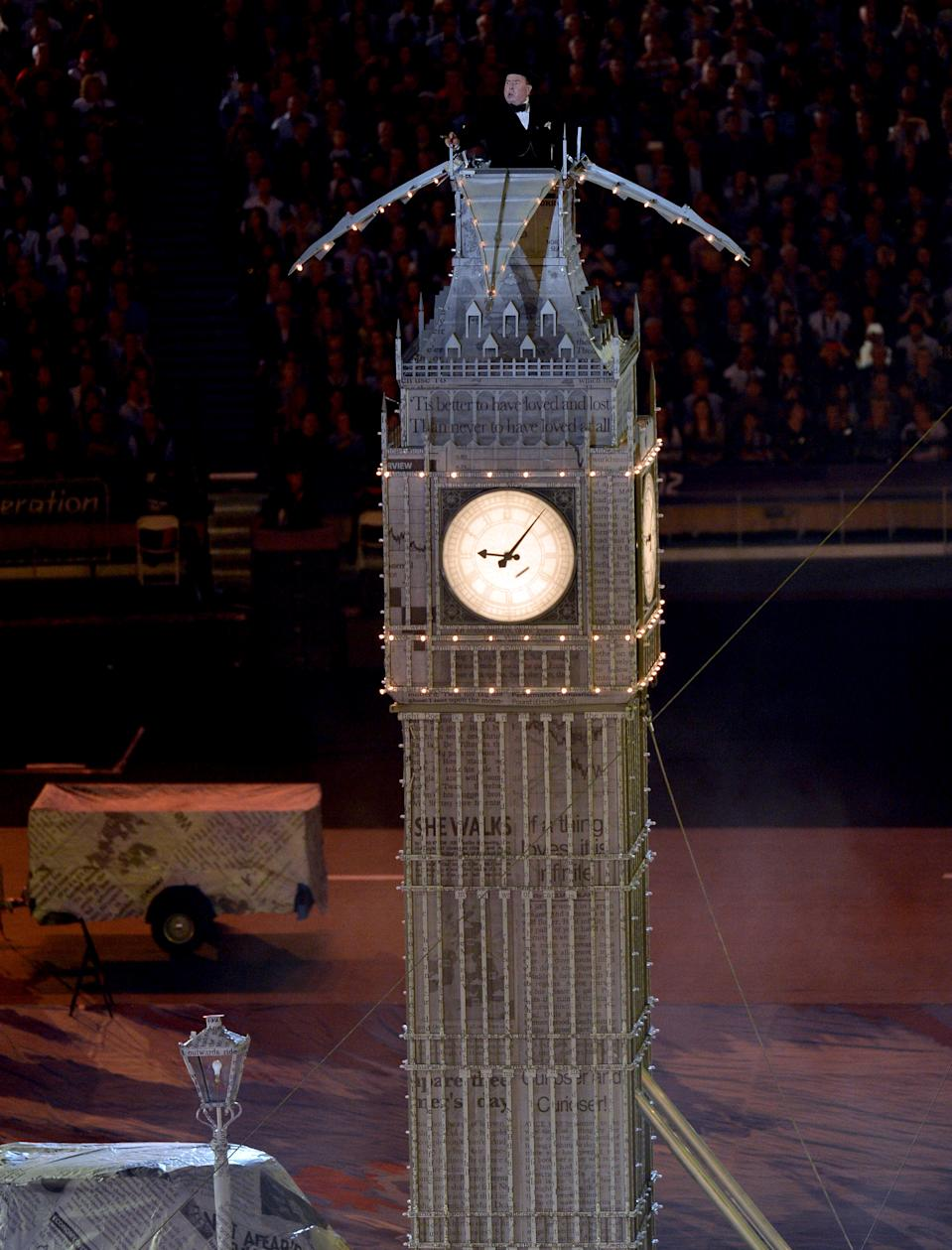 Actor Timothy Spall poses as Sir Winston Churchill during the Closing Ceremony on Day 16 of the London 2012 Olympic Games at Olympic Stadium on August 12, 2012 in London, England. (Photo by Stu Forster/Getty Images)