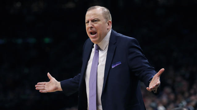 The Timberwolves will reportedly fire Tom Thibodeau after a rocky first three years as head coach and president of basketball operations. (AP Photo/Charles Krupa)