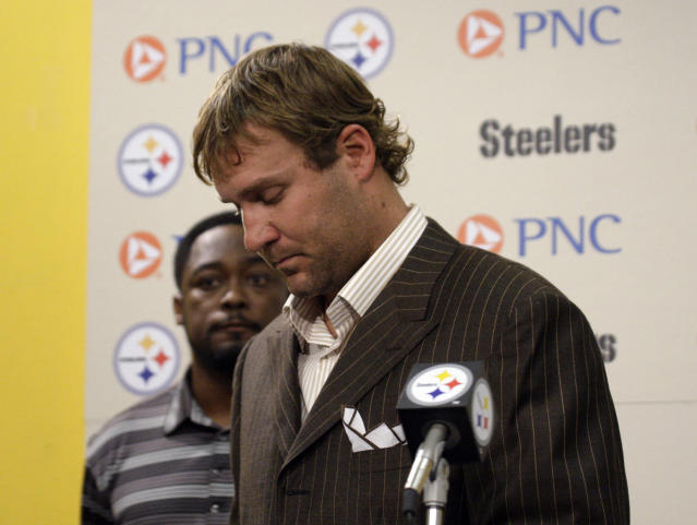 "FILE - In this Thursday, July 23, 2009, file photo, Pittsburgh Steelers quarterback Ben Roethlisberger makes a statement to reporters at Steelers headquarters in Pittsburgh, saying that allegations by a Lake Tahoe casino hostess that he raped her a year earlier are ""reckless and false."" Roethlisberger avoided major repercussions from the allegations of rape against him in 2009. (AP Photo/Gene J. Puskar, File)"