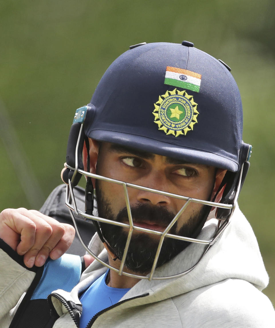 India's captain Virat Kohli leaves after batting in the nets during a training session ahead of their Cricket World Cup match against South Africa at Ageas Bowl in Southampton, England, Thursday, May 30, 2019. (AP Photo/Aijaz Rahi)