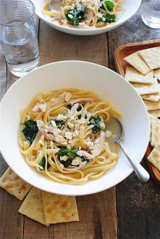 "<strong>Get the <a href=""http://bevcooks.com/2013/06/easiest-ever-chicken-noodle-soup-with-kale/"" rel=""nofollow noopener"" target=""_blank"" data-ylk=""slk:Chicken Noodle Soup with Kale recipe from Bev Cooks"" class=""link rapid-noclick-resp"">Chicken Noodle Soup with Kale recipe from Bev Cooks</a></strong>"
