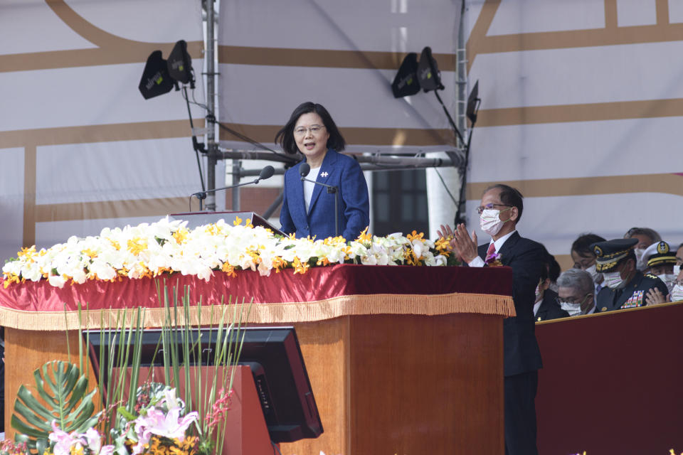 TAIPEI, TAIWAN - 2021/10/10: Taiwan president Tsai Ing wen speaking on the stage in front of the Taiwan presidential palace while commemorating the 110 birthday of the nation which official name is Republic of china in Taiwan. This year speech by the second term president focused on the threat from China PRC. (Photo by Alberto Buzzola/LightRocket via Getty Images)