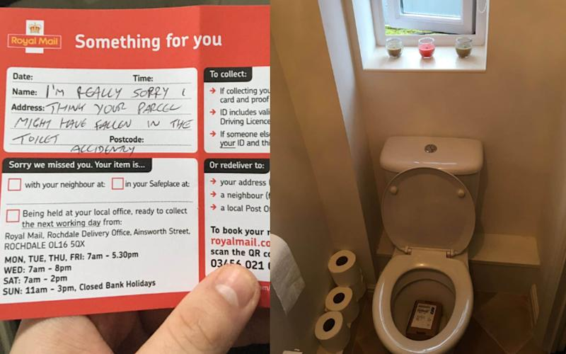 An apologetic note from the postman - and the parcel in the toilet - Sam Cooke