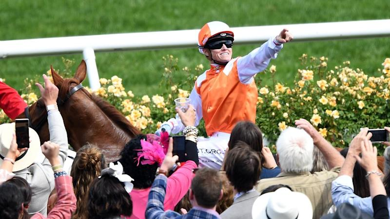 Craig Williams rides Vow And Declare past the Flemington crowd after winning the Melbourne Cup