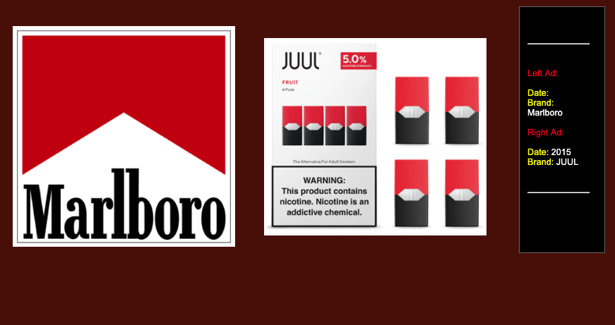 Juul's advertisements bear an uncanny resemblance to Marlboro. (Source: Stanford Research into the Impact of Tobacco Advertising)