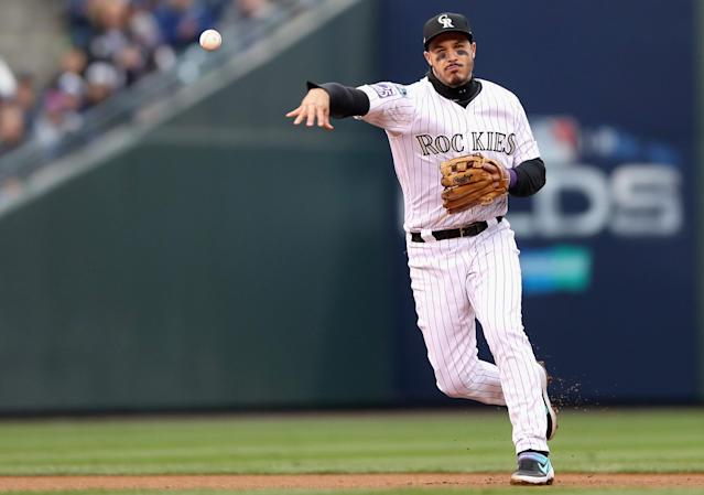 """<a class=""""link rapid-noclick-resp"""" href=""""/mlb/players/9105/"""" data-ylk=""""slk:Nolan Arenado"""">Nolan Arenado</a> is going to let his agent deal with the questions surrounding his contract situation in Colorado. (Getty Images)"""