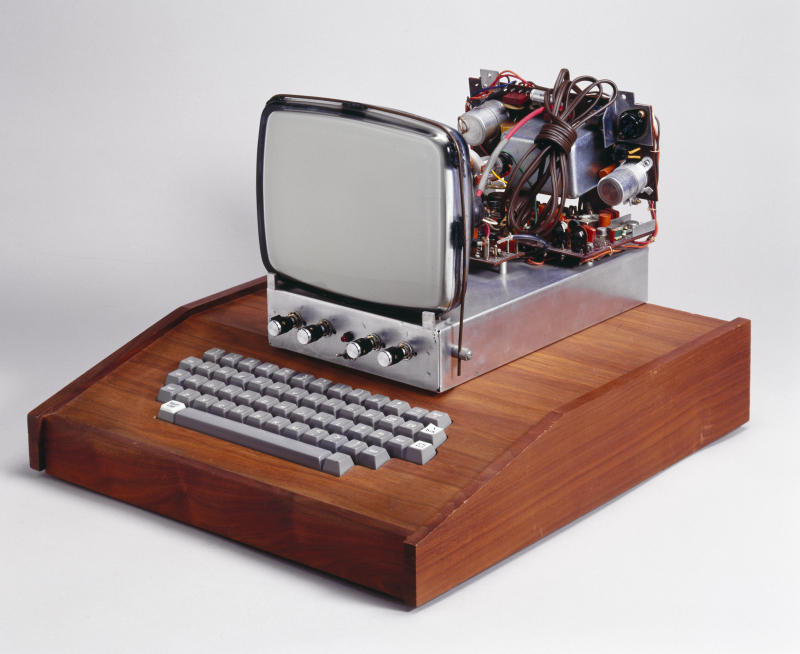 UNITED STATES - FEBRUARY 02: This was the first computer made by Apple Computers Inc, which became one of the fastest growing companies in history, launching a number of innovative and influential computer hardware and software products. Most home computer users in the 1970s were hobbyists who designed and assembled their own machines. The Apple I, devised in a bedroom by Steve Wozniak, Steven Jobs and Ron Wayne, was a basic circuit board to which enthusiasts would add display units and keyboards. (Photo by SSPL/Getty Images)