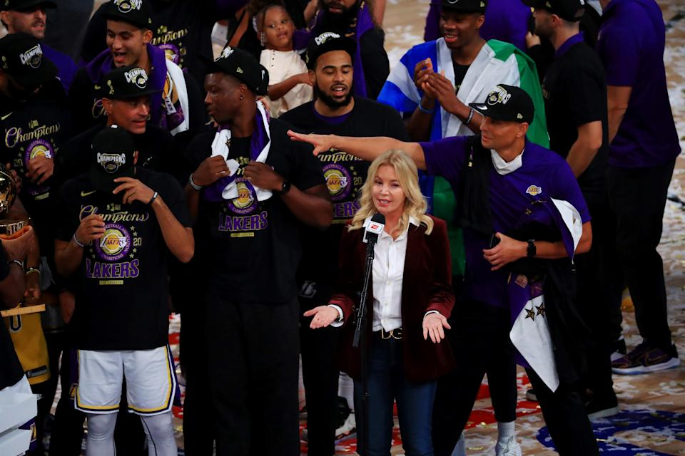 Owner of the Los Angeles Lakers Jeanie Buss speaks after the Los Angeles Lakers win the 2020 NBA Championship Final over the Miami Heat in Game Six of the 2020 NBA Finals at AdventHealth Arena at the ESPN Wide World Of Sports Complex on October 11, 2020 in Lake Buena Vista, Florida. NOTE TO USER: User expressly acknowledges and agrees that, by downloading and or using this photograph, User is consenting to the terms and conditions of the Getty Images License Agreement.  (Photo by Mike Ehrmann/Getty Images)