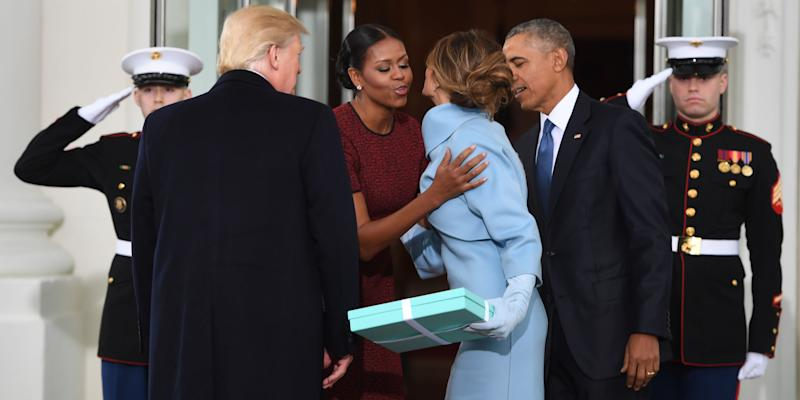 Watch the obamas greet donald and melania trump at the white house photo credit getty m4hsunfo