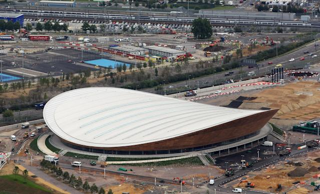 LONDON, ENGLAND - JULY 26: Aerial view of the Velodrome which will host Cyclingl events during the London 2012 Olympic Games on July 26, 2011 in London, England. (Photo by Tom Shaw/Getty Images)