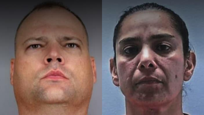 Aurora Police officers John Haubert (left) and Francine Martinez (right) have been arrested after the former beat a man with his service-issued weapon, and the latter failed to intervene. (Arapahoe County/Glendale Police photos)