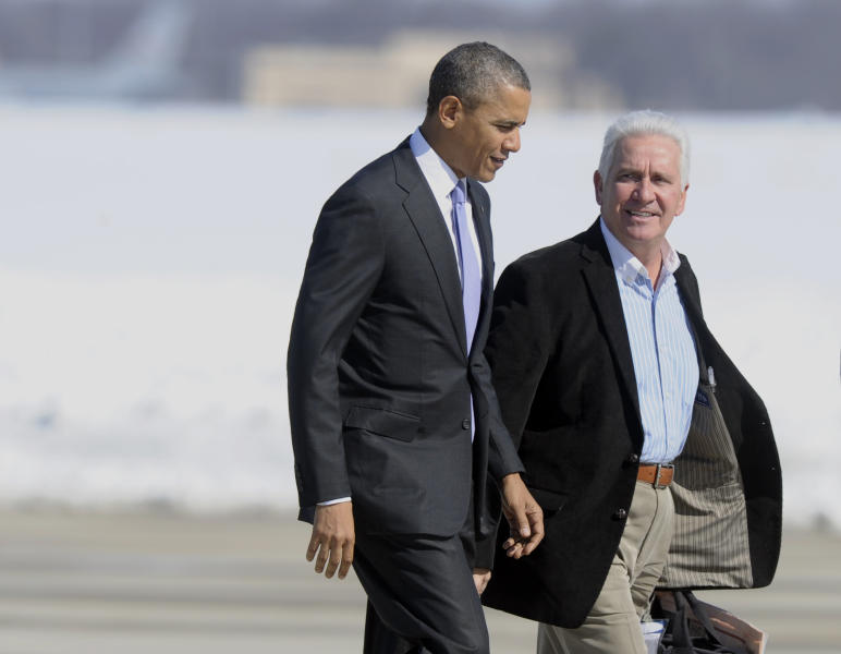 FILE - In this Feb. 14, 2014, file photo President Barack Obama walks with Rep. Jim Costa, D-Calif., towards Air Force One at Andrews Air Force Base, Md. Costa has been voting with the Republican majority in the House to amend or overturn parts of the federal Affordable Care Act. Costa is one of a handful of Democrats in California who represent congressional districts that are closely divided between Democrats and Republicans, after voters approved an independent redistricting process. (AP Photo/Susan Walsh, File)
