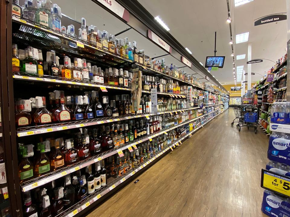 The liquor aisle is pictured at a Ralphs grocery store during the outbreak of the coronavirus disease (COVID-19), in Pasadena, California, U.S., June 11, 2020. Picture taken June 11, 2020. REUTERS/Mario Anzuoni