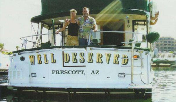 "PHOTO: Tom and Jackie Hawks eventually bought a 55-foot trawler yacht for $300,000 and named it the ""Well Deserved,"" which their tight-knit circle of friends and family agreed was perfectly fitting. (Hawks Family)"