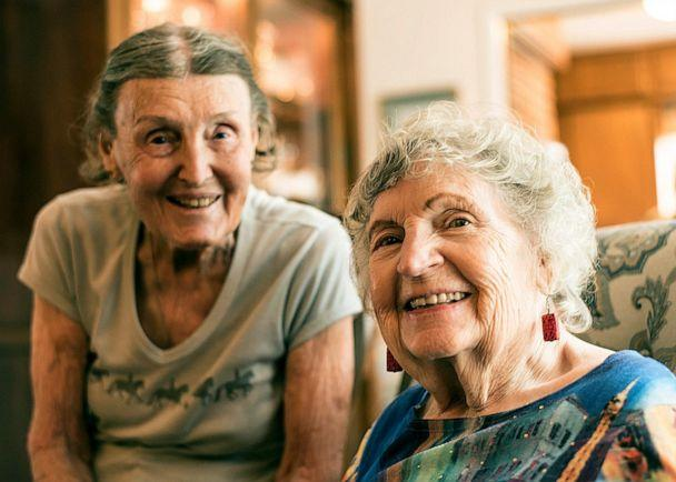 PHOTO: Ninety-seven-year-old Louise Wilde, left, and Janice Wills were two of the original six members of the Egg Heads. (Louise Soe)