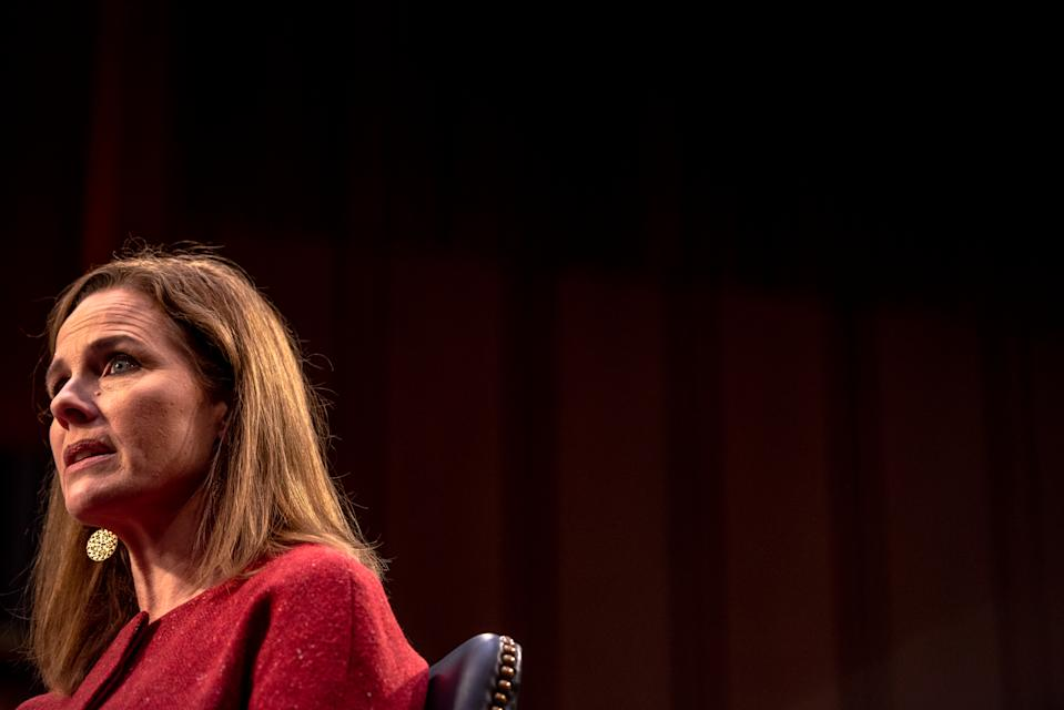 """Supreme Court nominee Judge Amy Coney Barrett testified before the Senate Judiciary Committee on Oct. 13, when she prompted wide criticism for her use of the term """"sexual preference"""" while referring to LGBTQ discrimination. (Photo: Hilary Swift-Pool/Getty Images)"""