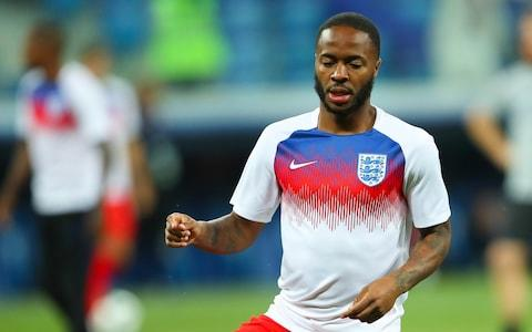 Raheem Sterling of England warms up prior to the 2018 FIFA World Cup Russia group G match between Tunisia and England at Volgograd Arena on June 18, 2018 in Volgograd, Russia - Credit: Robbie Jay Barratt - AMA/Getty Images
