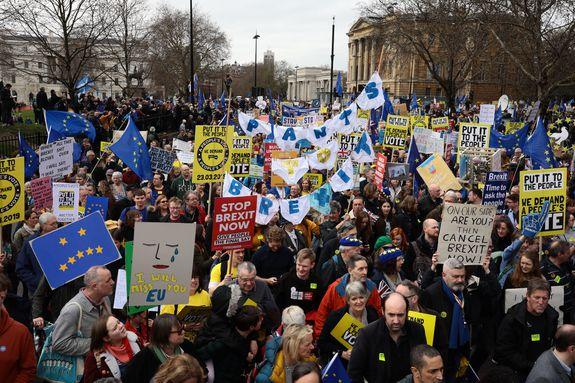 London was flooded Saturday with protesters and their signs, calling on a new Brexit vote as Teresa May flirts with disaster.
