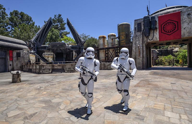 ANAHEIM, CA - MAY 29: Storm Troopers guard an TIE Echillion fighter in Star Wars: Galaxy's Edge at Disneyland in Anaheim, CA, on Wednesday, May 29, 2019. ((Photo by Jeff Gritchen/MediaNews Group/Orange County Register via Getty Images))