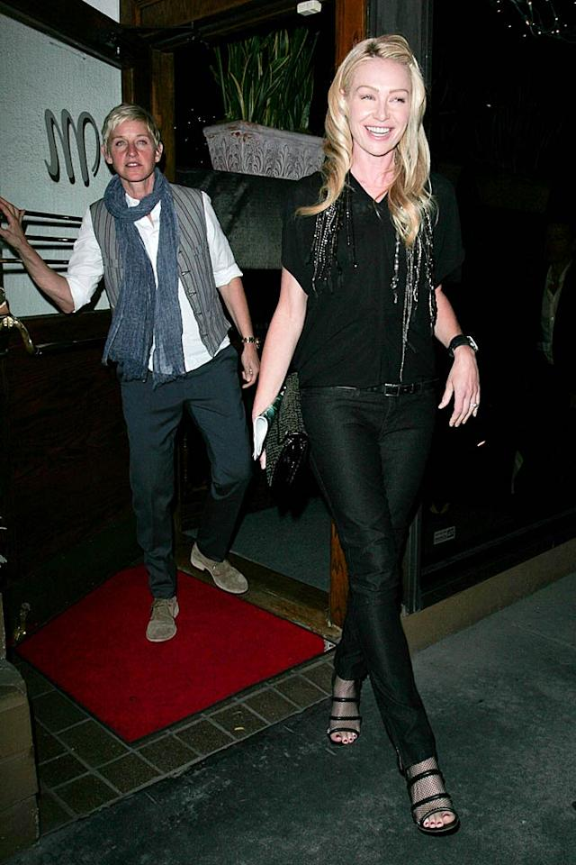 """Portia de Rossi and wife Ellen DeGeneres spent a Saturday date night out at swanky Italian restaurant Madeo in West Hollywood ... and judging from Portia's smile, it looks like they definitely had a great meal! <a href=""""http://www.infdaily.com"""" target=""""new"""">INFDaily.com</a> - May 21, 2011"""