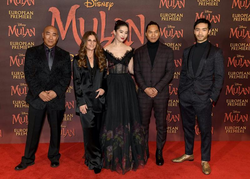 "Ron Yuan, Niki Caro, Yifei Liu, Jason Scott Lee and Yoson An attend the European Premiere of Disney's ""Mulan"" at Odeon Luxe Leicester Square."