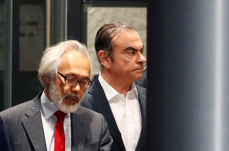 FILE PHOTO: Former Nissan Motor Chariman Carlos Ghosn leaves the Tokyo Detention House
